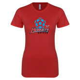 Next Level Ladies SoftStyle Junior Fitted Red Tee-Soccer Ball Design