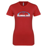 Next Level Ladies SoftStyle Junior Fitted Red Tee-Arched Football Design