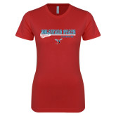 Next Level Ladies SoftStyle Junior Fitted Red Tee-Lacrosse Stick Design