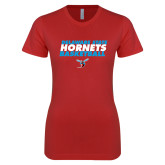 Next Level Ladies SoftStyle Junior Fitted Red Tee-Basketball Text Design