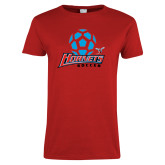 Ladies Red T Shirt-Soccer Ball Design