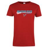 Ladies Red T Shirt-Lacrosse Stick Design