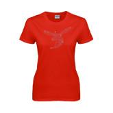 Ladies Red T Shirt-Hornet Rhinestones