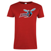 Ladies Red T Shirt-Delaware State Hornets w/Hornet