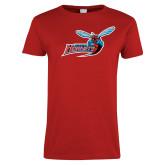Ladies Red T Shirt-Delaware State Hornets w/Hornet