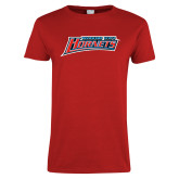 Ladies Red T Shirt-Delaware State Hornets