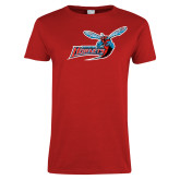 Ladies Red T Shirt-Delaware State Hornets w/Hornet Distressed