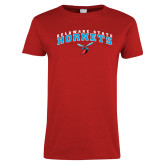 Ladies Red T Shirt-Arched Delaware State University w/Hornet