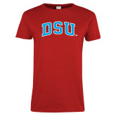 Ladies Red T Shirt-Arched DSU