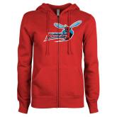 ENZA Ladies Red Fleece Full Zip Hoodie-Delaware State Hornets w/Hornet