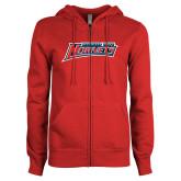 ENZA Ladies Red Fleece Full Zip Hoodie-Delaware State Hornets