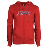 ENZA Ladies Red Fleece Full Zip Hoodie-Hornets