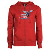 ENZA Ladies Red Fleece Full Zip Hoodie-Softball