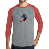 Grey/Red Heather Tri Blend Baseball Raglan-Hornet