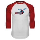 White/Red Raglan Baseball T-Shirt-Delaware State Hornets w/Hornet