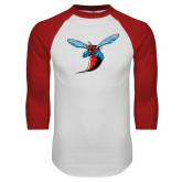 White/Red Raglan Baseball T-Shirt-Hornet