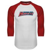 White/Red Raglan Baseball T-Shirt-Delaware State Hornets