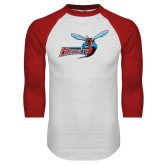 White/Red Raglan Baseball T-Shirt-Delaware State Hornets w/Hornet Distressed
