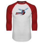 White/Red Raglan Baseball T-Shirt-Delaware State Hornets w/Hornet Distressed