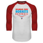 White/Red Raglan Baseball T-Shirt-Abstract Baseball Design