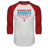 White/Red Raglan Baseball T-Shirt-Abstract Baseball Design