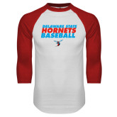 White/Red Raglan Baseball T-Shirt-Baseball Text Design