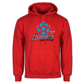 Red Fleece Hoodie-Soccer Ball Design