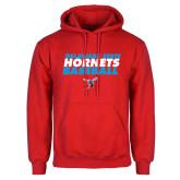 Red Fleece Hoodie-Baseball Text Design