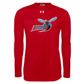 Under Armour Red Long Sleeve Tech Tee-Delaware State Hornets w/Hornet