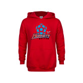 Youth Red Fleece Hood-Soccer Ball Design