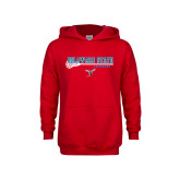 Youth Red Fleece Hood-Lacrosse Stick Design