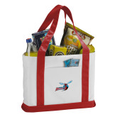 Contender White/Red Canvas Tote-Delaware State Hornets w/Hornet