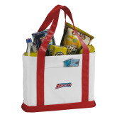 Contender White/Red Canvas Tote-Delaware State Hornets
