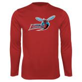 Performance Red Longsleeve Shirt-Delaware State Hornets w/Hornet