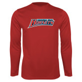 Performance Red Longsleeve Shirt-Delaware State Hornets