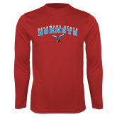 Performance Red Longsleeve Shirt-Delaware State University w/Hornet