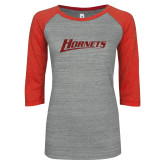 ENZA Ladies Athletic Heather/Red Vintage Triblend Baseball Tee-Hornets