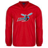 V Neck Red Raglan Windshirt-Delaware State Hornets w/Hornet