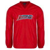 V Neck Red Raglan Windshirt-Delaware State Hornets