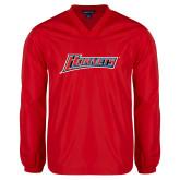 V Neck Red Raglan Windshirt-Hornets