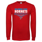 Red Long Sleeve T Shirt-Abstract Baseball Design