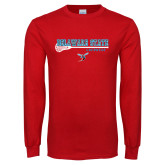 Red Long Sleeve T Shirt-Lacrosse Stick Design
