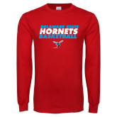 Red Long Sleeve T Shirt-Basketball Text Design