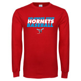 Red Long Sleeve T Shirt-Baseball Text Design