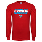 Red Long Sleeve T Shirt-Soccer Text Design