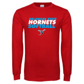 Red Long Sleeve T Shirt-Softball Text Design