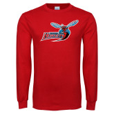 Red Long Sleeve T Shirt-Delaware State Hornets w/Hornet Distressed