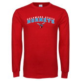 Red Long Sleeve T Shirt-Delaware State University w/Hornet