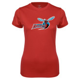 Ladies Syntrel Performance Red Tee-Delaware State Hornets w/Hornet
