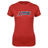 Ladies Syntrel Performance Red Tee-Delaware State Hornets